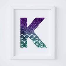 Letter K Printable For Nursery Mermaid Print Mermaid Decor Etsy