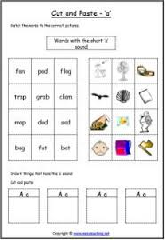 letter sound cut paste worksheets
