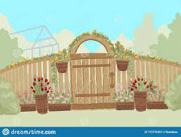 Summer Landscape Entrance To The Green Garden With Wood Fence Vector Illustration Stock Vector Illustration Of Bush Anner 172770301