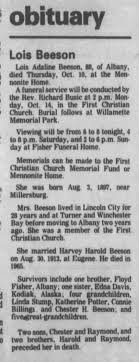 Obituary Lois Adeline Fisher Beeson - Newspapers.com
