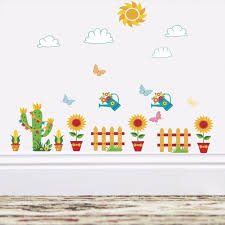 Sunflower Flower Pot Removable Wall Stickers For Kids Room Nursery Wall Decor Vinyl Art Decals Cactus Fence Murals Wallpaper Wall Stickers Aliexpress