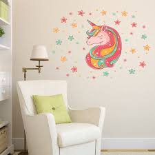 Ducklingup Rainbow Unicorn Wall Sticker Girls Bedroom Wall Decal Art Nursery Home Decor Walmart Com Walmart Com