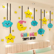 Children S Room Decoration 3d Acrylic Solid Wall Stickers Star Nursery Cute Clouds