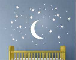 50 Stars And Moon Wall Stickers For Kids Room Creative White Stars Baby Wall For Sale Online