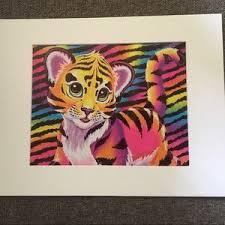 Lisa Frank Wall Art Tiger Cub Matted Art Neon Pop Rainbow Poshmark