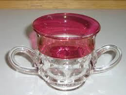 thumbprint ruby flashed sugar bowl