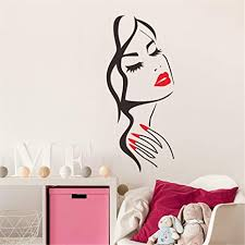 Amazon Com Quaanti Wall Decal Beauty Salon Manicure Nail Salon Hand Girl Face Vinyl Sticker Home Decor Hairdresser Hairstyle Wall Sticker Multicolor Home Kitchen