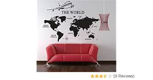 Extra Large World Map Of Earth Wall Decal Vinyl Art Wall Sticker Home Office Decor 91 Wx50 H Black Anber M52304 Wall Stickers Murals