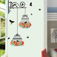 Colorful Flower Birdcage Flying Birds Wall Sticker Creative Home Decor Living Room In 2020 Sticker Wall Art Bird Wall Decals Wall Decor Stickers