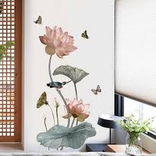 Chinese Style Lotus Flower Vintage Vinyl Wall Sticker Wish