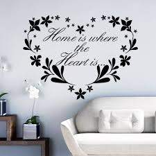 Home Is Where Heart Is Home Decor Creative Quote Wall Decals Flower Heart Removable Vinyl Wall Stickers Wallpaper Wall Art Wall Art Quote Wall Decalwall Decals Flowers Aliexpress