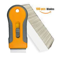 Vanly 100pcs Single Edge Stainless Steel Razor Blades With 1 Retractable Razor Scraper For Decal Sticker Glue Removal From