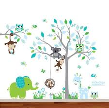Wall Decal Jungle Friends Safari Pastel Tall Birch Etsy In 2020 Jungle Wall Decals Jungle Wall Stickers Elephant Decal
