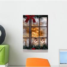 The Holiday Aisle Cats Christmas Window Wall Decal Wayfair