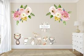 8 Deer Fox Bear Bunny Wall Decal Sticker Set Large Bouquet Florals Bab Pink Forest Cafe