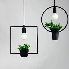 hanging lamp geometric plants pot iron