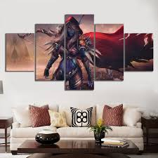 Big Discount 9578 Modular Canvas Art Pictures Poster 5 Panel Dota 2 Traxex Dr Archers Game Wall Prints Painting Home Decor For Living Room Frame Cicig Co