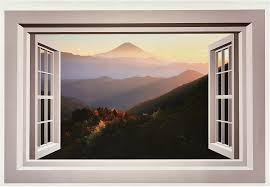 Amazon Com Wallmonkeys Mountain Window Wall Mural Peel And Stick Graphic 48 In W X 32 In H Wm169246 Home Kitchen