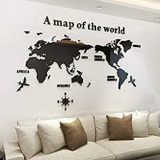 Amazon Com Kinbedy Acrylic 3d Wall Stickers Black World Map Wall Decal Easy To Install Apply Diy Decor Sticker Home Art Decor World Map Home Kitchen