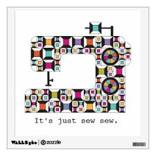 Colorful Sewing Machine Quilt Pattern Decal Zazzle Com