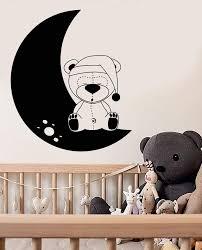 Vinyl Wall Decal Nursery Teddy Bear Toy Moon Childrens Room Stickers U Wallstickers4you