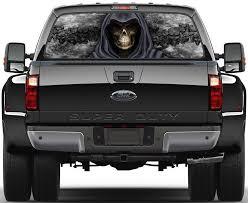 Grim Reaper Skulls Black Fire Flame 3 Rear Window Graphic Decal Sticker Truck Custom Trucks Trucks Gmc Trucks