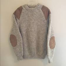 wool sweater with leather elbow patches