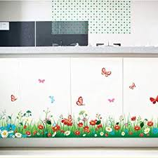 Kaimao Diy Removable Wallpaper Fresh Grass Flowers Butterfly Skirting Line Wall Stickers Wall Decal Home Decor Amazon Com
