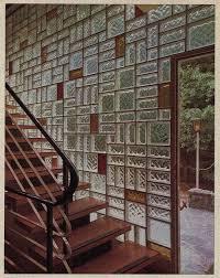 mondrian patterned glass block wall