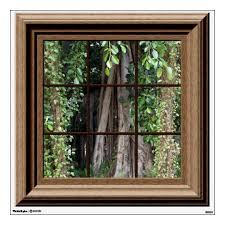 Fake Window Decal Relaxing View Trees Wall Mural Zazzle Com