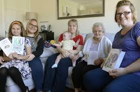 Birthday girl, 100, sees latest great-granddaughter for first time ...