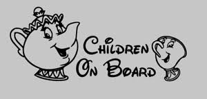 Children On Board Car Window Vinyl Sticker Decal White Beauty And The Beast Ebay