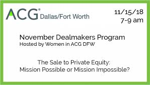 November 2018 Breakfast Program | ACG Dallas/Fort Worth