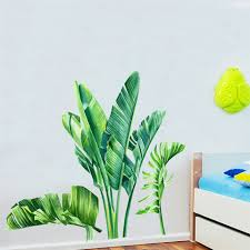 Nordic Green Plant Wall Stickers Living Room Tropical Rainforest Palm Leaves Decal Wall Mural Children Room Wallpaper 0805pjr Wall Stickers Aliexpress