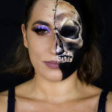half skull face makeup sarah magic makeup