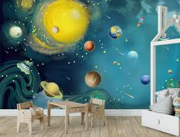 Blue Space Wallpaper Kids Bedroom Wall Mural Peel And Stick Etsy