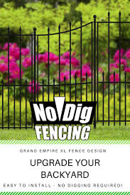 No Dig Actual 3 58 Ft X 2 08 Ft Grand Empire Xl Black Steel Pressed Point Decorative Metal Fence Panel Lowes Com Fence Panels Metal Fence Metal Fence Panels