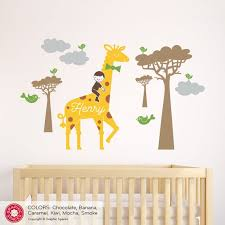 Giraffe Boy Nursery Wall Decal Personalized Name Safari Jungle Etsy