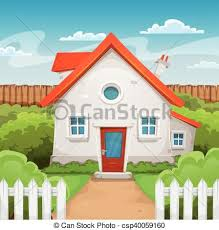 House Inside Garden Illustration Of A Cartoon Domestic House In Spring Or Summer Season With Backyard Garden Grass Fence