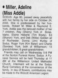 Obituary for Adeline Miller (Aged 80) - Newspapers.com