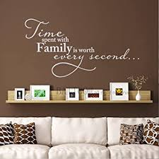 Amazon Com Battoo Time Spent With Family Is Worth Every Second Wall Decal Family Clock Decal Vinyl Lettering 12 W By 6 5 H White Furniture Decor