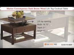dark brown lift top cocktail table
