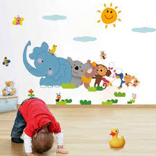 Cute Elephant Wall Decals For Kids Room Colorful Cartoon Animals Sticker Nursery And House Decor Mural Removable Wall Art Prints Baby Room Amagicalshop On Artfire