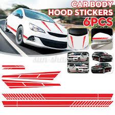 6x Long Stripe Graphics Car Racing Side Body Hood Mirror Vinyl Decal Sticker Red Ebay
