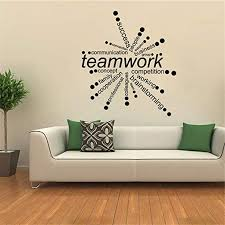 Amazon Com Vinyl Wall Decals Quotes Sayings Words Art Deco Lettering Inspirational Teamwork Words Office Meeting Room Quote Teamwork Makes The Dreamwork Decal Home Decor Home Kitchen