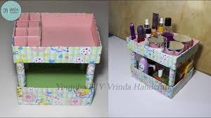 makeup organizer from cardboard box