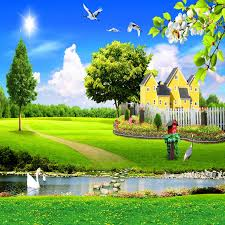 Green Scene Flying Birds Swimming Goose Yellow House Garden Fence Outdoor Children Photography Studio 5x7ft Background Backdrops Backdrop Banner Fence Connectorbackdrop Wedding Aliexpress
