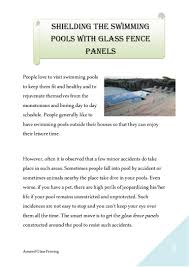 Shielding The Swimming Pools With Glass Fence Panels