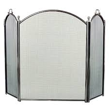 3 panel pewter arched fireplace screen