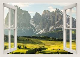 Huge Mountains Wall Decal 3d Window Wall Decal Landscape Etsy
